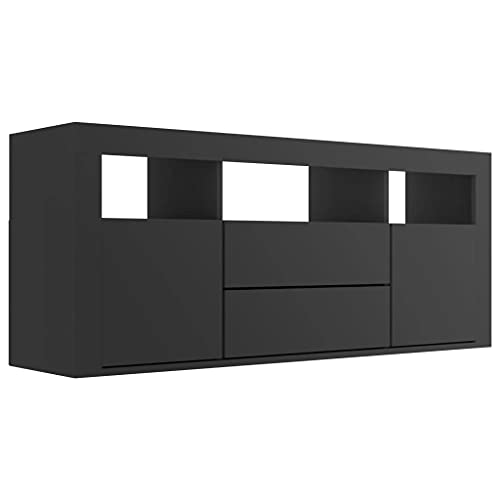vidaXL Mueble para TV Salón Comedor Mesa Centro Televisión Televisor Equipo de Música Armario Bajo Almacenaje Soporte Aglomerado Negro 120x30x50cm