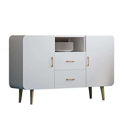 Aparador de estilo nórdico, multifuncional, gabinete de almacenamiento de cocina, sala de estar, comedor, mueble de té, gabinete lateral, 120 x 30 x 70 cm, blanco 2