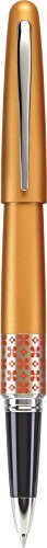 PILOT MR Retro Pop Collection Gel Roller Pen in Gift Box, Orange Barrel with Flower Accent, Fine Point Stainless Steel Nib, Refillable Black Ink (91403)