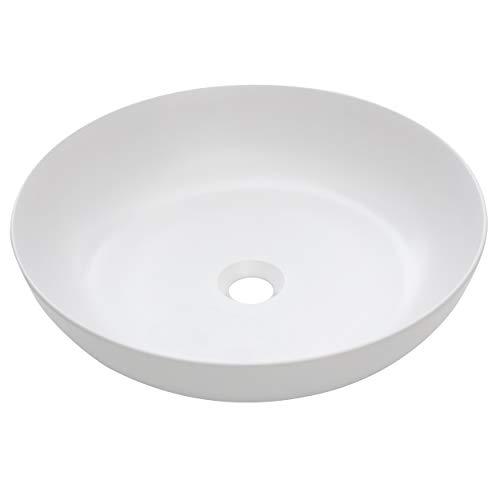 baliv Aufsatzwaschbecken WBA-7080 Keramik | Rundes Waschbecken ohne Hahnloch und ohne Überlauf