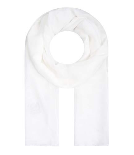 Majea Tuch Lima schmal geschnittenes Damen-Halstuch leicht uni einfarbig dünn unifarben Schal weich Sommerschal Übergangsschal, Weiß, 180cm x 50cm
