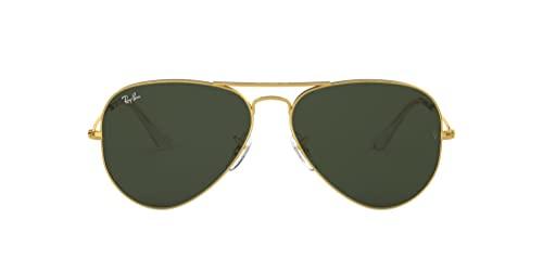 Ray-Ban RB3025 Classic Aviator Sunglasses, Gold/Grey Green, 62 mm