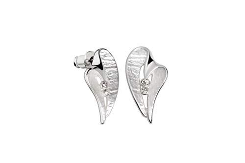 Perlkönig | Damen Frauen | Ohrringe Set | Ear Cuffs | Silber Farben | Herz geschwungen| Glitzer Steine | Stecker | Nickelabgabefrei