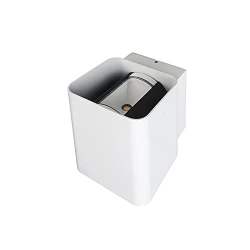 Bot Lighting Shot NASBY II - Lámpara de pared con forma de cubo LED, doble emisión, haz ajustable exterior, IP54, color blanco, 3000 K, luz cálida
