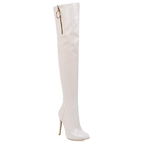 KKJKK De Las Mujeres Alta sobre la Rodilla Botas Moda Sexy Muslo Botas Altas Señoras Punta Puntiaguda Botas de Tacón de Stiletto Botas Largas Cremallera Lateral Partido Zapatos de Vestir,Blanco,EU35