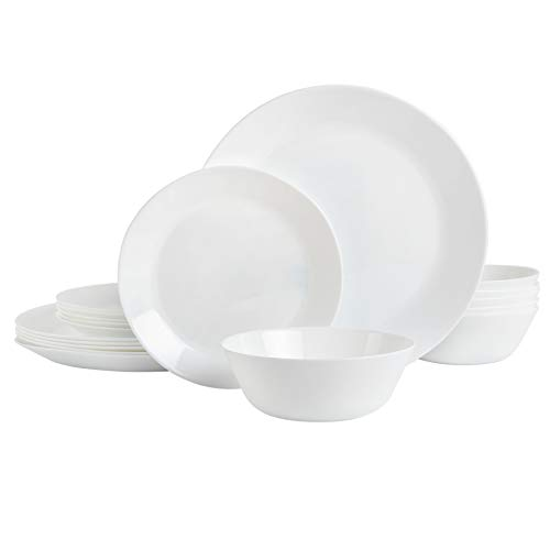 Gibson Home Ultra Break-Resistant Dinnerware Sets, Round: Service for 6 (18pcs), Opal Glass