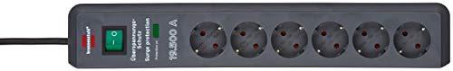 Brennenstuhl 1159540366 Secure-Tec Steckdosenleiste 6-Fach mit Überspannungsschutz (Steckerleiste mit 2m Kabel und Schalter, Engineered in Germany) grau