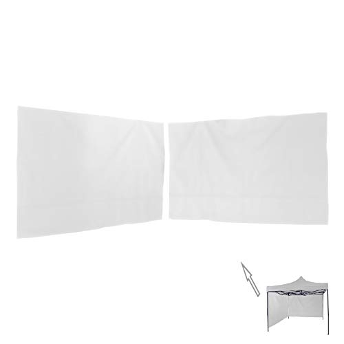 Rebecca Mobili 2er Set weißer Seitenteile, 3x3 m Pavillon-Seitenschutz zur Abdeckung, Polyester, Wasserdicht, mit Spannseil - Maße: 1,9 x 2,9 mt (HxL) - Art. RE6439