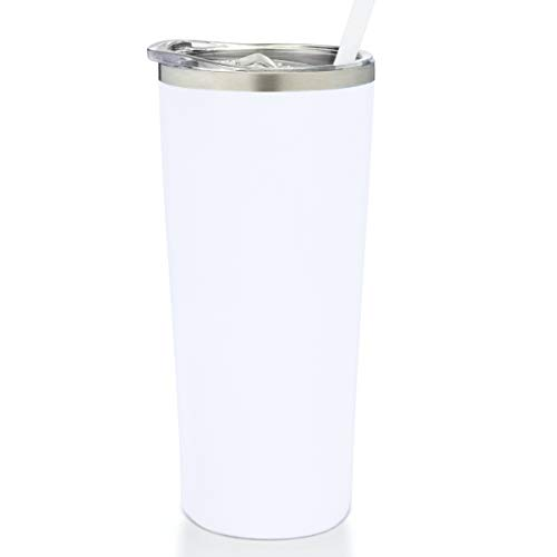 SassyCups Stainless Steel Vacuum Insulated Double Wall Powder Coated Drinking Tumbler with Lid and Straw   Coffee Travel Mug   Drink Cup   Water Bottle   Cold Thermos for Drinks (22 Ounce, White)