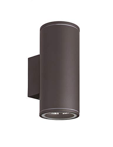 GU10 Up and Down Aussenleuchte rund Wandleuchte - Aluminium Anthrazit für LED oder Halogen Leuchtmittel Up & Down light innen Außen 1457 rund