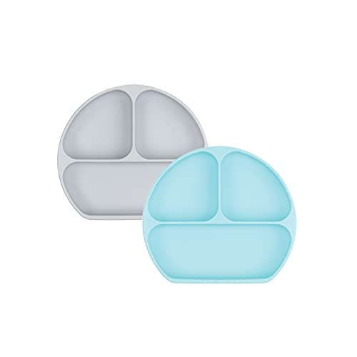 Bumkins Silicone Grip Dish, Suction Plate, Divided Plate, Baby Toddler Plate, BPA Free, Microwave Dishwasher Safe - 2pk Gray/Blue