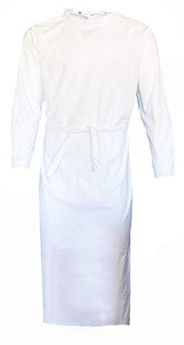 Grevotex OP-Mantel weiß OP-Kittel OP-Bekleidung OP-Kleidung wiederverwendbar waschbar weiß blau grün (Weiss, S)