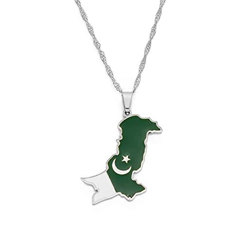 Pakistán Mapa Y Bandera Collares Pendientes Acero Inoxidable Y Color Plata Joyería Étnica Pakistaní Longitud: 60 Cm