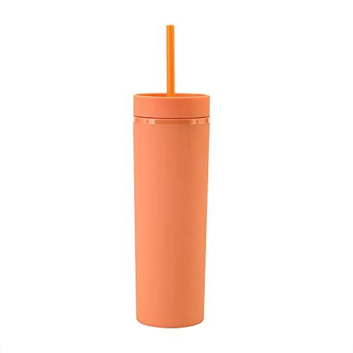 YIXINYOUPIN - Taza de viaje de 16 oz con pajita y tapa a prueba de fugas, taza de café reutilizable y ecológica, taza de cerveza, para beber frío o caliente naranja