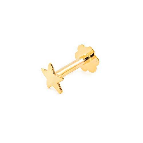 Piercing voor kraakbeen ster 4 mm - geel goud 9 karaat (375)
