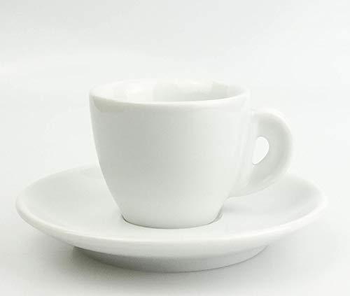 Moka Consorten Extra dickwandige (8,5 mm) italienische Espressotasse | »Bari« | Füllmenge (bis zur Oberkante): 50 ml | weiß | handgemacht | 6 Tassen & 6 Untertassen | Made in Italy