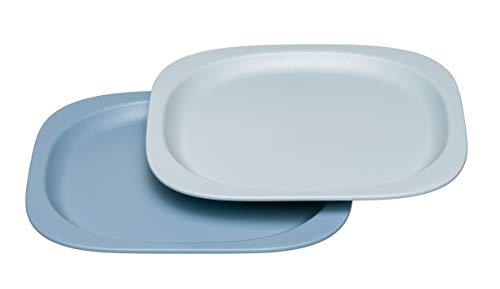nip Eat Green öko bio Kinder-Teller: Ohne Melamin und BPA, geeignet für Spülmaschine und Mikrowelle, 2 Stück, blau