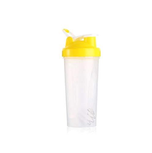 Botella de Agua Itness de 600 ml Botella coctelera Creativa Botella de Mezcla de Polvo de proteína de suero Deportivo con Bola agitadora Sin BPA Amarillo
