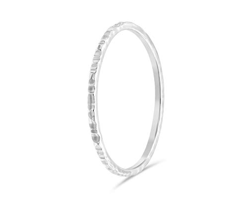 fajno Silberring Damen gehämmert aus 925 Sterling Silber | Simple Silberring, Silberschmuck | Ring Damen, Stapelring, Vorsteckring