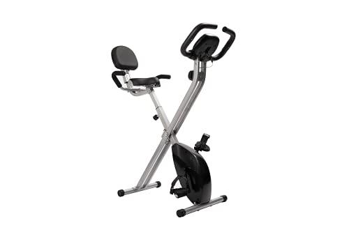 LAZY SPORTS Bicicleta estática spinning plegable, magnetorresistencia de nivel 8, asiento con apoyabrazos y respaldo, pantalla LCD, carga máx.120Kg
