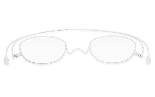 [薄型老眼鏡ペーパーグラス] マットカラー「オーバル」ホワイト(+2.50) おしゃれ 携帯用ケース付き 財布に入る老眼鏡 栞(しおり)型リーディンググラス メンズ レディース ギフト 鯖江 1年間保証 001MATWH250