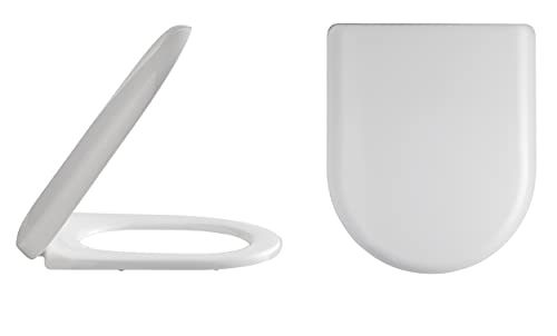 Premier Nuie NTS004   Modern Bathroom Curved Soft Close Toilet Seat, 453mm x 366mm, White, 44.9 x 36.9 x 1.8 Centimeters