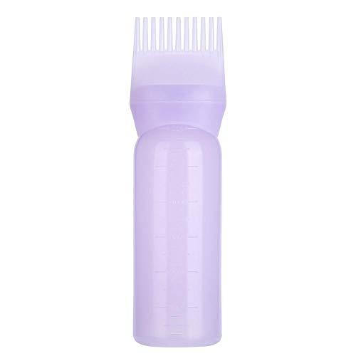 Dispensador de color de pelo con bomba de tinte botella con escala graduada colorear peine cepillo herramienta de peine para salón raíz botella 80 ml