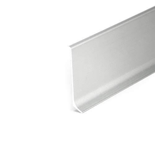DQ-PP Alu 2,5m Sockelleisten Silber eloxiert 80mm Zubehör Leiste Aluminium Boden