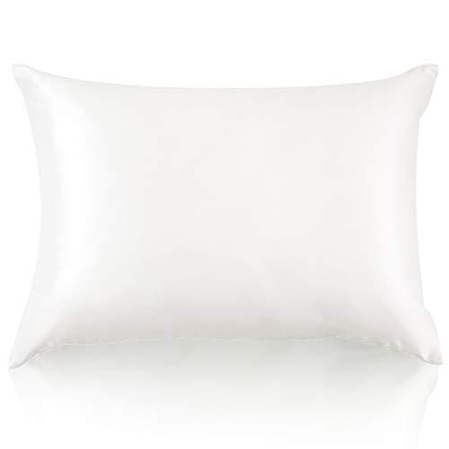 JZS Funda de almohada 100% seda de morera pura para el cabello y la piel en ambos lados de seda de 19 momme con cremallera oculta, funda de almohada hipoalergénica natural, 1 pieza (marfil, 40 x 80)