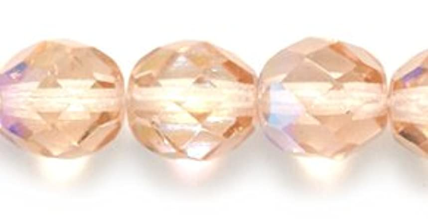 Preciosa Czech Fire 8mm Polished Glass Bead, Faceted Round, Pink Aurora Borealis, 75-Pack
