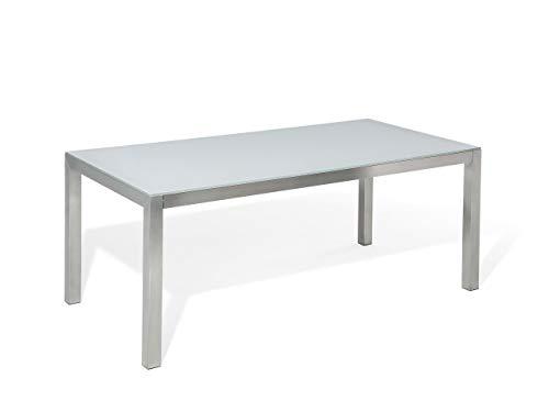 Beliani - Table de Jardin - Grosseto - Plateau en Verre, 180 x 90 cm, Blanc et Argenté