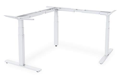 DIGITUS Elektrisch Höhenverstellbares 90° Steh-Sitz Schreibtisch-Gestell - 3 Motoren - Ergonomischer Arbeitsplatz - Weiß