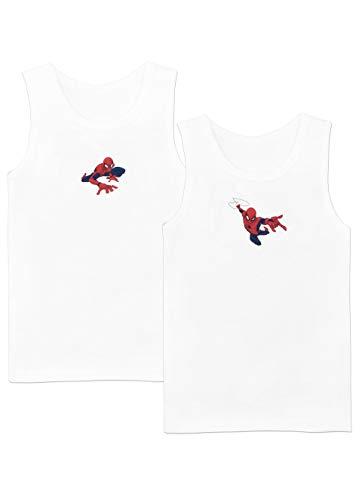Spiderman Camiseta de Tirantes Paquete de 2 para Niños El Hombre Araña Blanco 3-4 Años