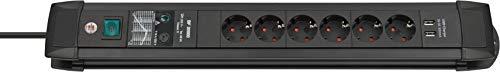 Brennenstuhl Premium-Line Steckdosenleiste 6-fach mit Schalter und Überspannungsschutz (3m Kabel, 2-fach USB 3,1 A, Made in Germany) schwarz
