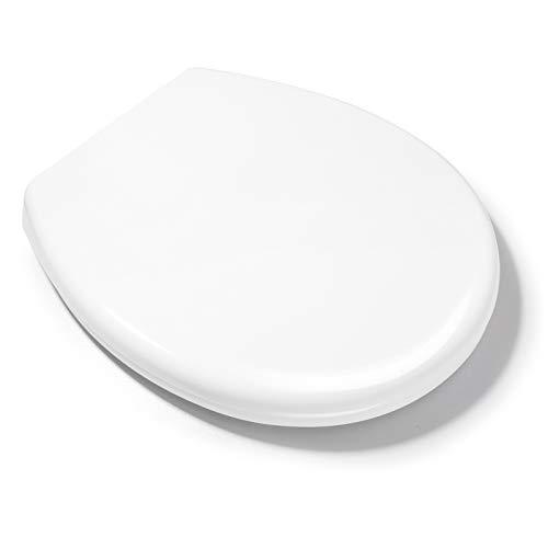 Homfa WC Sitz O Form Toilettensitz mit Absenkautomatik und Quick Release-Funktion Toilettendeckel aus PP und Rostfreie Edelstahl Einfache Montage weiß