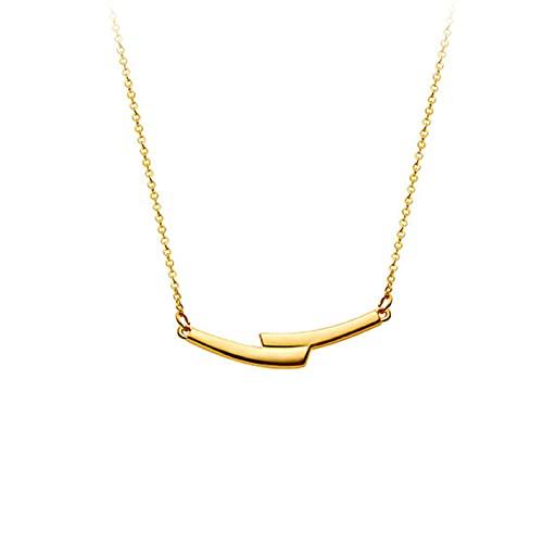 YJZW Sencillez Ajustable Collar Mujeres Oro Puro 999 Ajustable Joyas Colgante Personalizar Cumpleaños Regalos