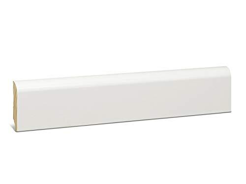 KGM Sockelleiste weiß 58mm | Echtholz Fussleisten Kiefer weiss lackiert ✓Massives Echtholz ✓weiss lackiert ✓abgerundet | Hochwertige weisse Leisten 13x58mm für Parkett & Laminat | Länge 2.4 Meter