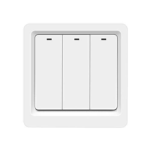 Zhang Asia 1/2/3 GANGS UE Standard Apple HomeKit 2.4GHz WiFi Smart Switch 10A LED Light Wall Botón Interruptor Interruptor inteligente Inicio Interruptor de Internet ( Color : 3 Gang Push-Button )