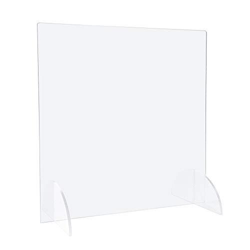 Standfester Spuckschutz (65.0 x 90.0 cm) Hustenschutz als geschlossene Schutzwand, Schutzscheibe und Niesschutz aus original, transparentem PLEXIGLAS