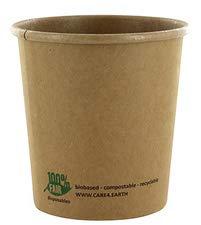 PAPSTAR soepbeker Pure, rond, 470 ml, bruin van ongebleekt karton van verse vezels met biologische coating, 1 stuk (87266)