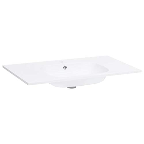 vidaXL Einbauwaschbecken Waschbecken Aufsatzwaschbecken Waschtisch Waschplatz Handwaschbecken Waschschale Badezimmer 805x460x105mm SMC Weiß