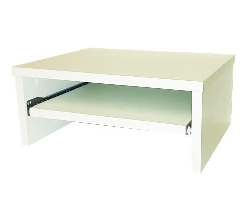 Henor Soporte Madera TV, Monitor, Impresora, Elevador de Pantalla con Bandeja Extraíble 42x32x18 Cm. Soporta 50 Kg. Blanco