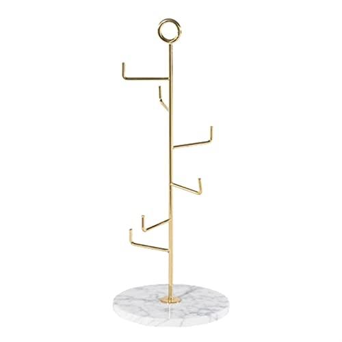 Joyero Organizador de Joyas Soporte de joyería de joyería de mármol moderno Pendiente de pendiente Pantalla de pendiente, organizador de colgantes de metal, 4.7dx12.2h Caja de Joyas Organizador