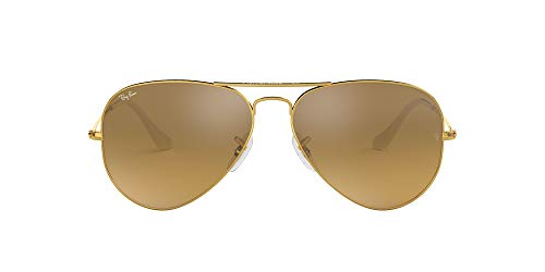 Ray-Ban Gafas de sol de aviador Full color en lona marrón camuflaje RB3025JM 168/4E 58, Dorado (Gold & Crystal Brown Mirror), 55 cm