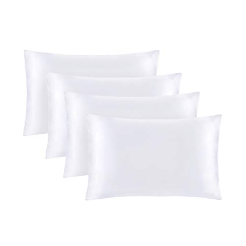 """Mommesilk 22 Momme Silk Pillowcase for Hair and Skin 4 Pack 100% Mulberry Silk Both Sides Silk Bed Pillow Cover with Hidden Zipper (King 20""""x36"""", White)"""