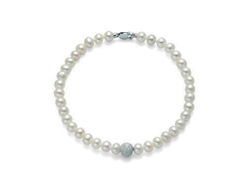 Bracciale Miluna in oro bianco 18kt con Perle e sfera diamantata PBR893