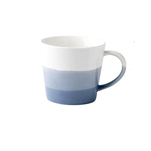 Tazza da tè e tazza da caffè sicure Grande calibro tazza di caffè gradiente colorato tazza in ceramica tazza semi-circolare maniglia con manico per ufficio e tazze di acqua per uso domestico (300 ml)