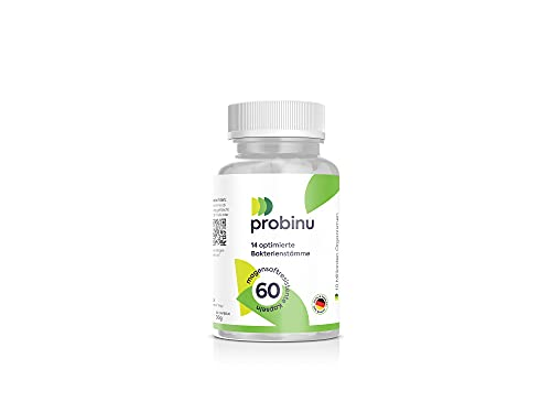 Premium Probiotika 2021 Probinu - 14 ausgesuchte Bakterienstämme - 60 hochdosierte, magensaftresistente Kapseln & Inulin - in Deutschland vegan hergestellt