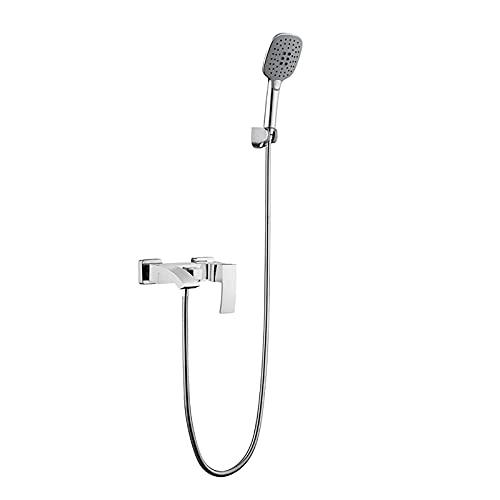 Grifo para bañera en cascada Grifo para bañera de latón Grifo para bañera de una manija Grifo mezclador de baño montado en la pared con 3 funciones Grifo mezclador de ducha de mano para bañera, negro