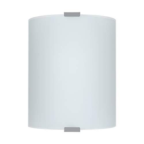 EGLO Wandlampe Grafik, 1 flammige Deckenlampe klassisch, Wandleuchte aus Metall und satiniertem Glas, Deckenleuchte in Silber und Weiß, Wohnzimmerlampe, Flurlampe mit E27 Fassung, L 18 cm